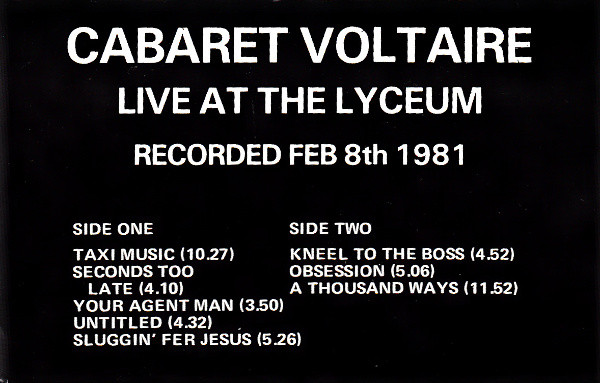 CABARET VOLTAIRE - Live At The Lyceum - Autres