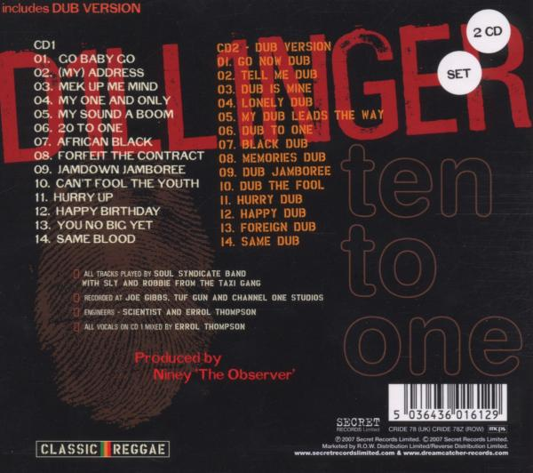 DILLINGER - TEN TO ONE -DIGI- (nieuw) - CD